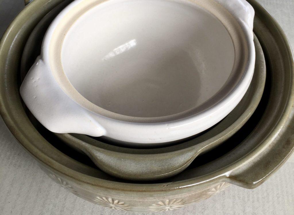 3つ重ねた土鍋